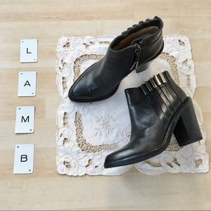L.A.M.B. Todd black leather ankle boots metal 6